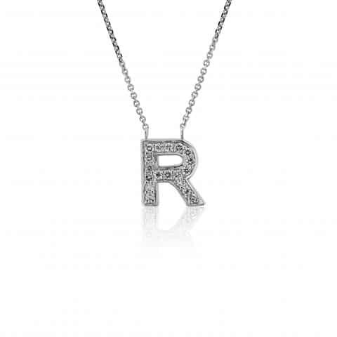 Balto aukso  pakabukas su deimantais, raidė R