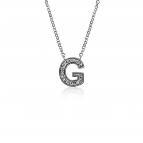 Balto aukso pakabukas su deimantais, raidė G