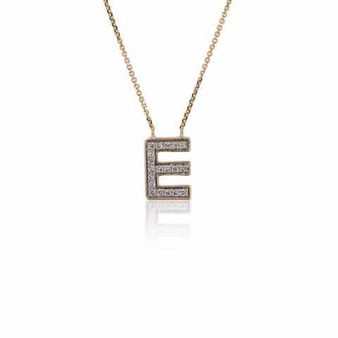 Geltono aukso pakabukas su deimantais, raidė E