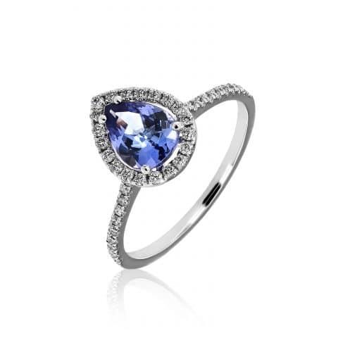 Balto aukso žiedas su tanzanitu ir deimantais