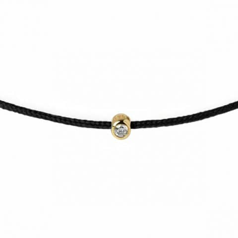 Juoda juostelė-apyrankė su deimantu (geltonas auksas)