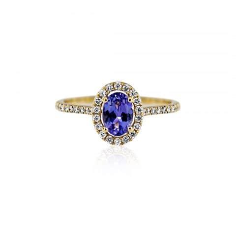 Geltono aukso žiedas su tanzanitais ir deimantais