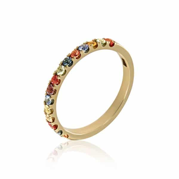 Geltono aukso žiedas su įvairiaspalviais safyrais