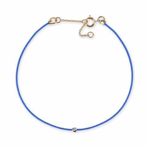 Mėlyna juostelė-apyrankė su deimantu ir geltono aukso užsegimu