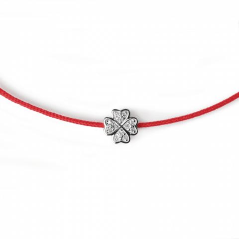 Raudona juostelė-grandinėlė su deimanto pakabuku (baltas auksas)