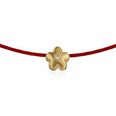 Raudona juostelė-apyrankė su deimantu