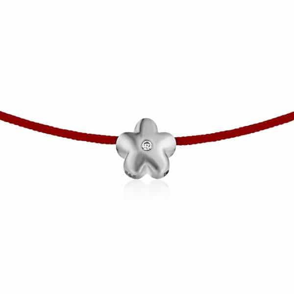 Raudona juostelė-apyrankė su deimantu (baltas auksas)