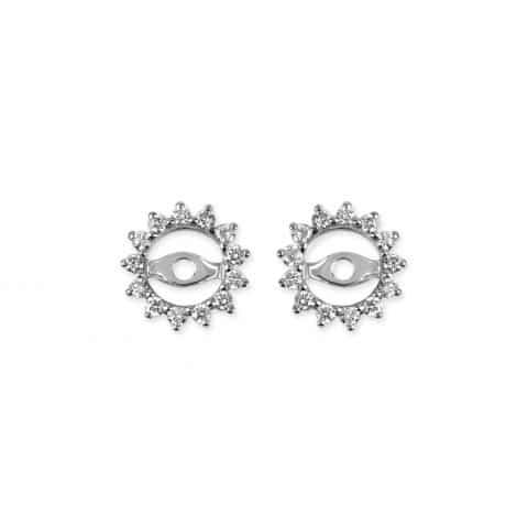 Balto aukso auskarų švarkeliai su deimantais (1 cm pločio)
