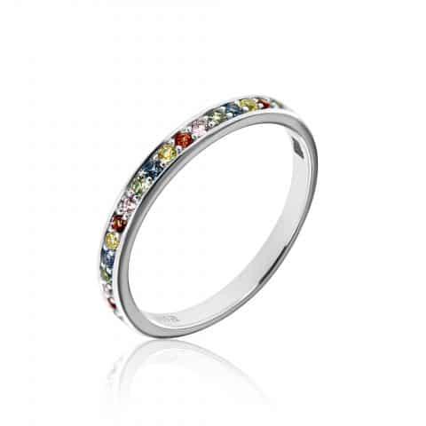 Balto aukso žiedas  su įvairiaspalviais safyrais