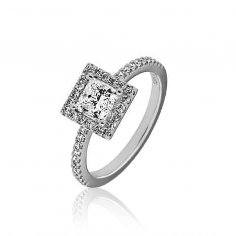 Balto aukso žiedas su deimantais (centrinis deimantas princess formos)