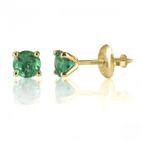 Geltono aukso auskarai su smaragdu