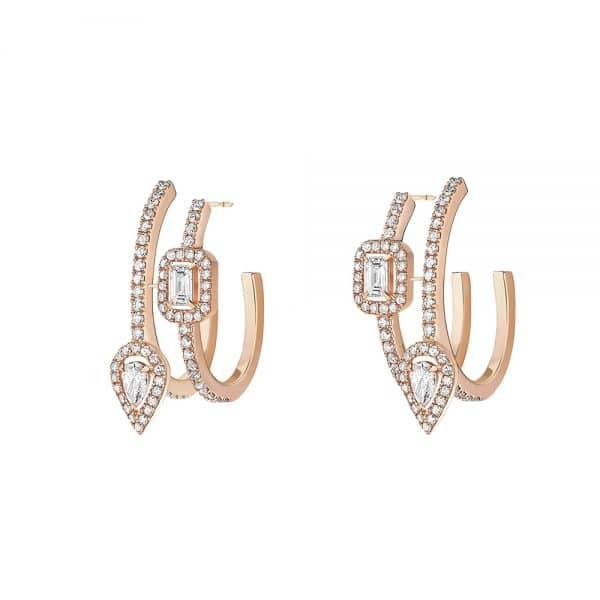 MESSIKA rožinio aukso auskarai su deimantais My Twin