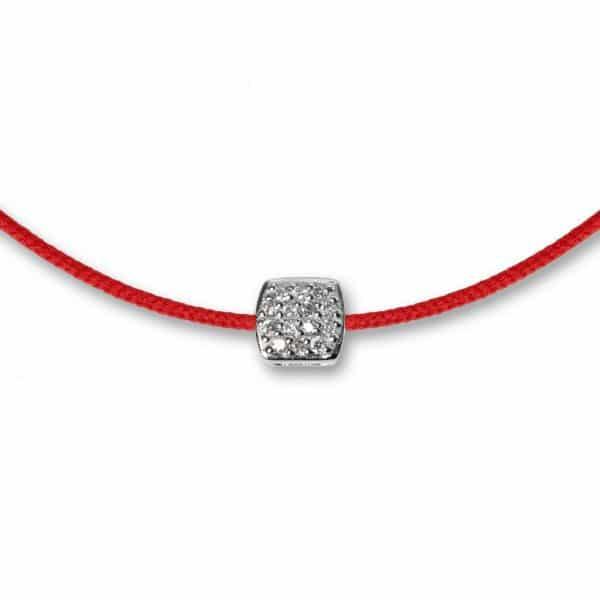 Raudona juostelė - pakabukas su balto aukso užsegimu