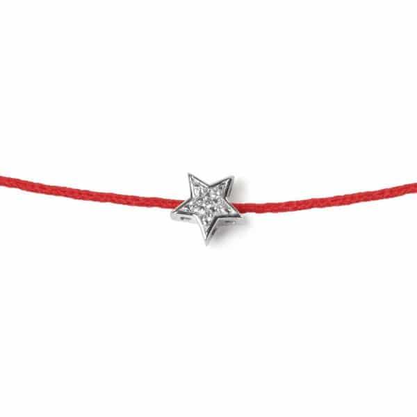 Raudona juostelė - pakabukas su deimantais ir balto aukso užsegimu