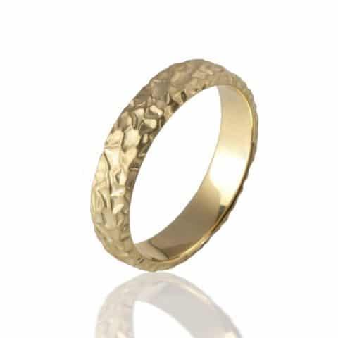 Geltono aukso žiedas matinis  (5 mm pločio)