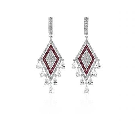 Balto aukso auskarai su rubinais ir deimantais