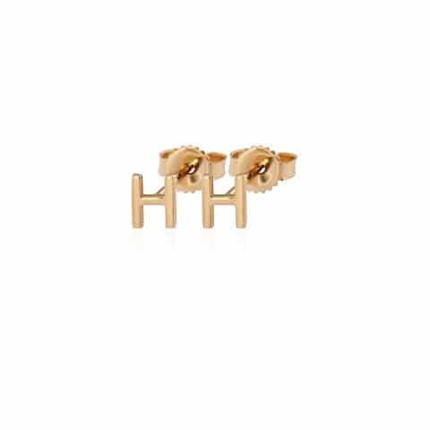 Geltono aukso auskarai, raidė H