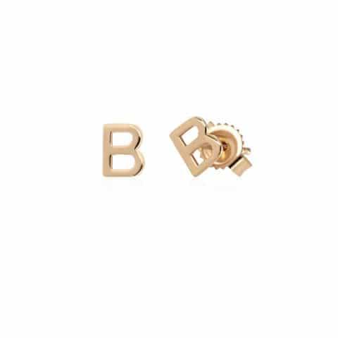 Geltono aukso auskarai, raidė B