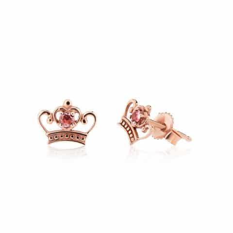 Rožinio aukso auskarai su turmalinu, karūna