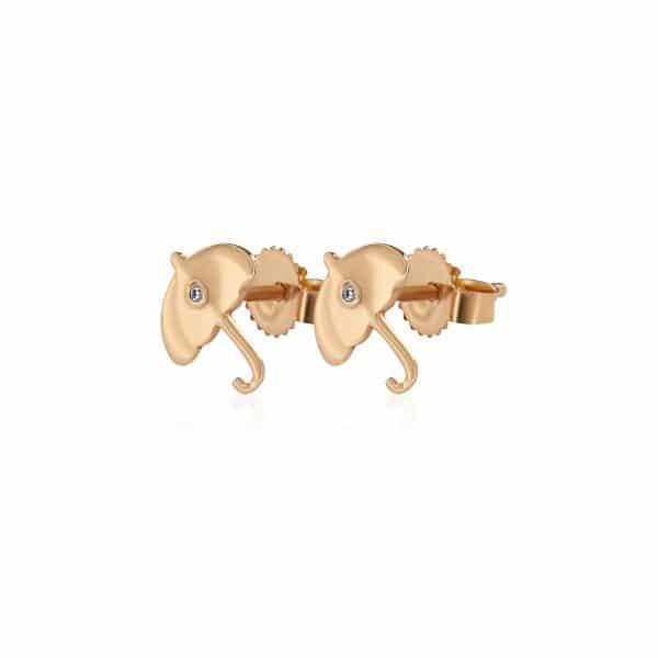 Geltono aukso auskarai su deimantais, skėčiai