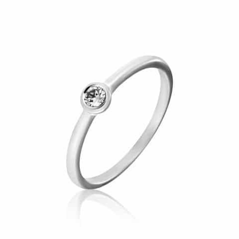 Matinis balto aukso žiedas su deimantu