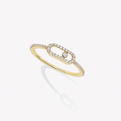 MESSIKA geltono aukso žiedas su deimantais  Move Uno