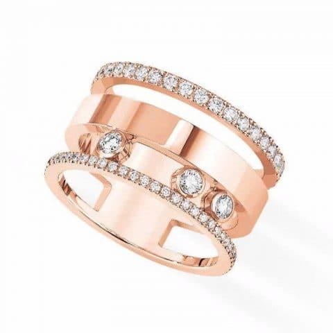 MESSIKA rožinio aukso žiedas su deimantais Move Romane