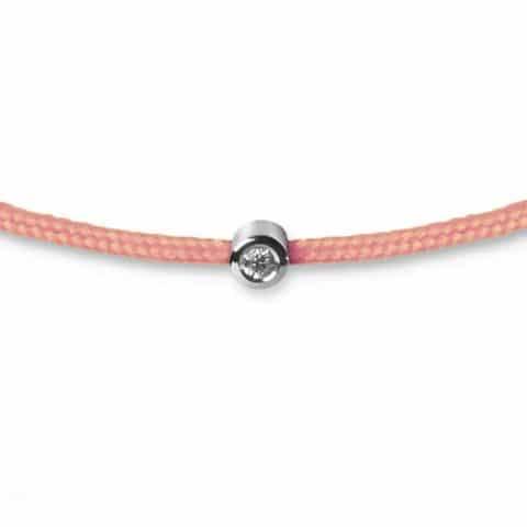 Rožinė apyrankė-juostelė su deimantu (baltas auksas)
