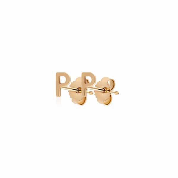 Geltono aukso auskarai, raidė P