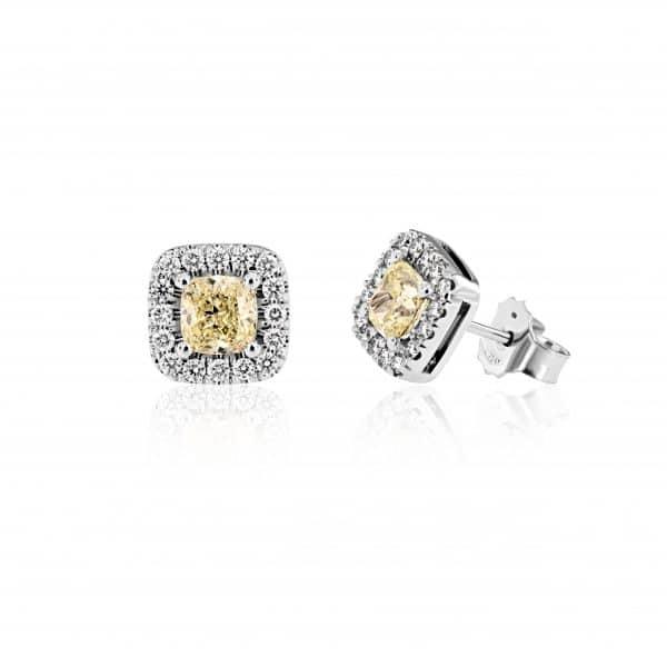 Balto aukso auskarai su deimantu