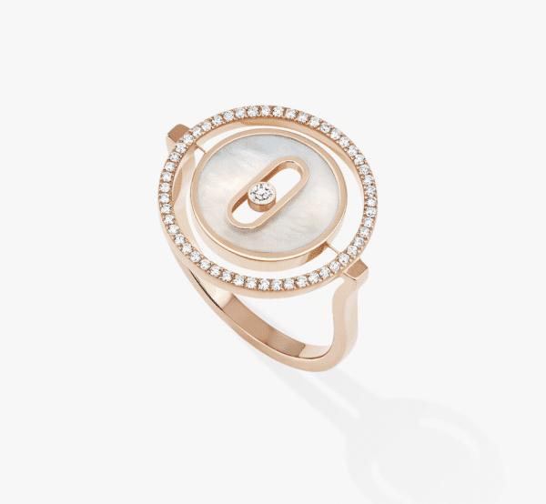 MESSIKA Rožinio aukso žiedas su deimantais ir perlamutru LUCKY MOVE