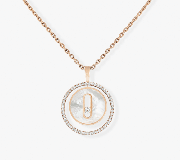 MESSIKA Rožinio aukso pakabukas su deimantais ir perlamutru LUCKY MOVE
