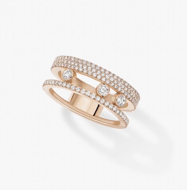 MESSIKA Rožinio aukso žiedas su deimantais Move Romane Pavé
