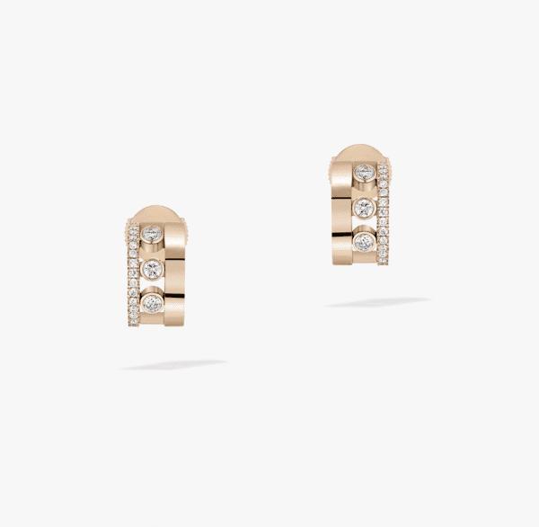 MESSIKA Rožinio aukso auskarai su deimantais Move Romane