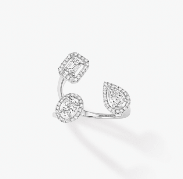 MESSIKA Balto aukso žiedas su deimantais  My Twin Trilogy