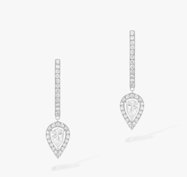 MESSIKA Balto aukso auskarai su deimantais Joy Hoop Earrings Pear