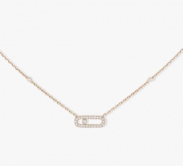 MESSIKA Rožinio aukso  pakabukas su deimantais Move Uno Pavé