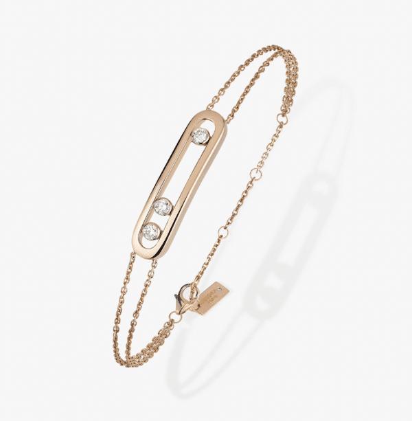 MESSIKA Rožinio aukso apyrankė su deimantais Move Classique