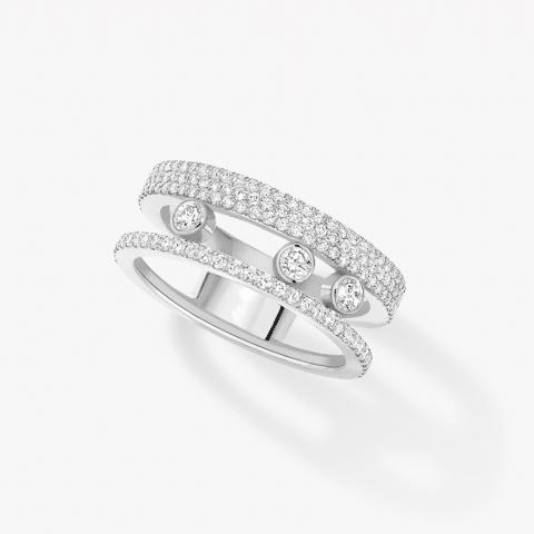 MESSIKA Balto aukso žiedas su deimantais Move Romane Pavé