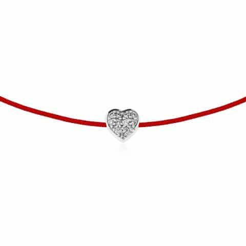 Raudona juostelė-apyrankė širdelė su 0,03 ct deimantais