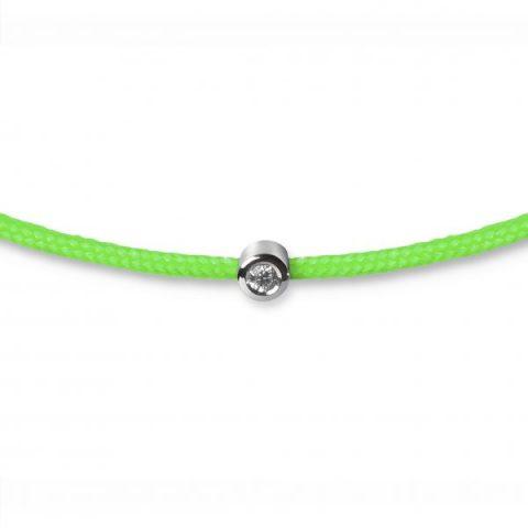 Žalia apyrankė-juostelė su 0,02 ct deimantu (baltas auksas)