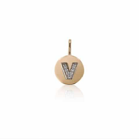 Geltono aukso pakabukas su deimantais, raidė V