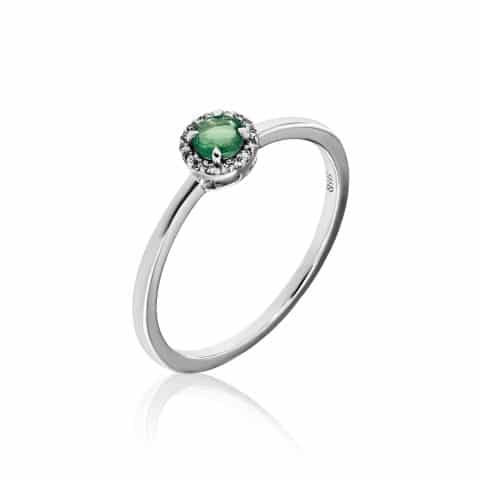 Balto aukso žiedas su smaragdu ir deimantais