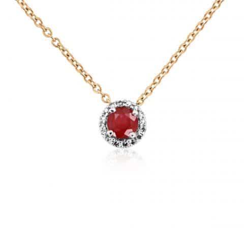 Geltono aukso grandinėlė su pakabuku su rubinu ir deimantais