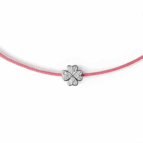 Rožinė apyrankė-juostelė su 0,04 ct deimantų dobiliuku (baltas auksas)