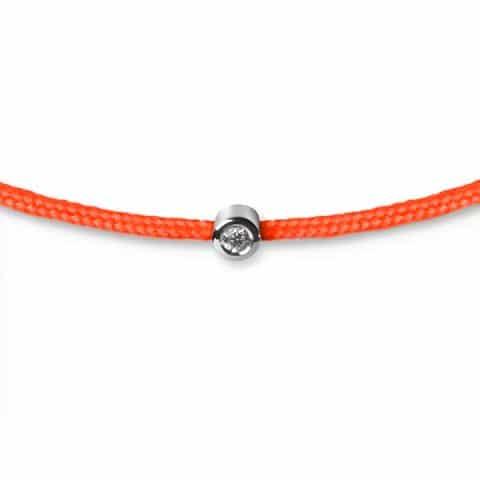 Oranžinė apyrankė-juostelė su 0,02 ct deimantu (baltas auksas)