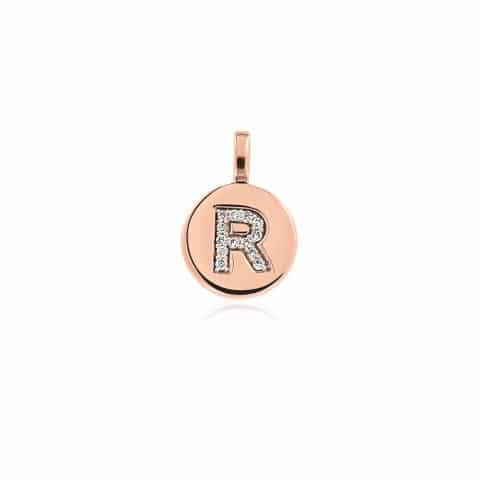 Rožinio aukso pakabutis su deimantais, raidė R