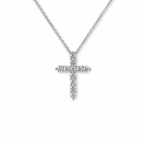 Balto aukso pakabukas-kryžius su deimantais