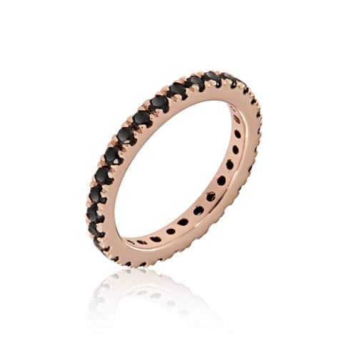 Rožinio aukso žiedas su juodais deimantais
