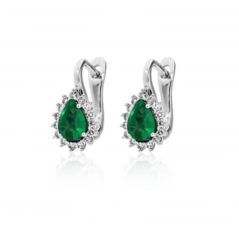 Balto aukso auskarai su smaragdu ir deimantais